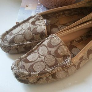 COACH LOGO LOAFERS Canvas Brown Tan Size 7US